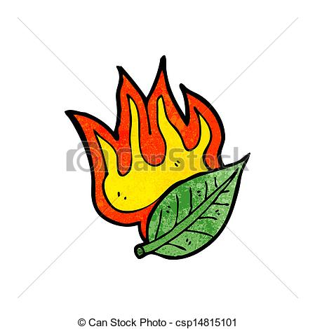 Vector Clipart of cartoon burning leaf csp14815101.