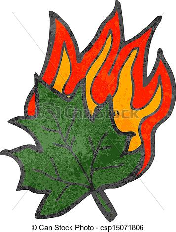 Vector Clipart of retro cartoon burning leaf symbol csp15071806.