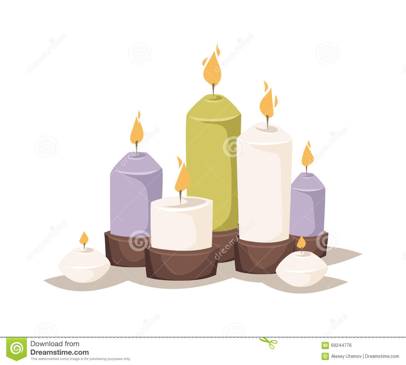 Cartoon Burning Candles With Candle Holder And Fire Wax Flame.
