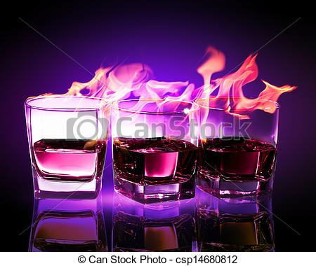 Clipart of Three glasses of burning purple absinthe.