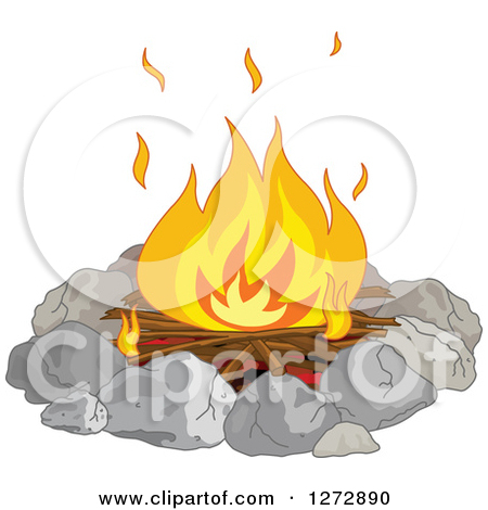 Clipart Illustration of a Burning Campfire Under A Starry Night.