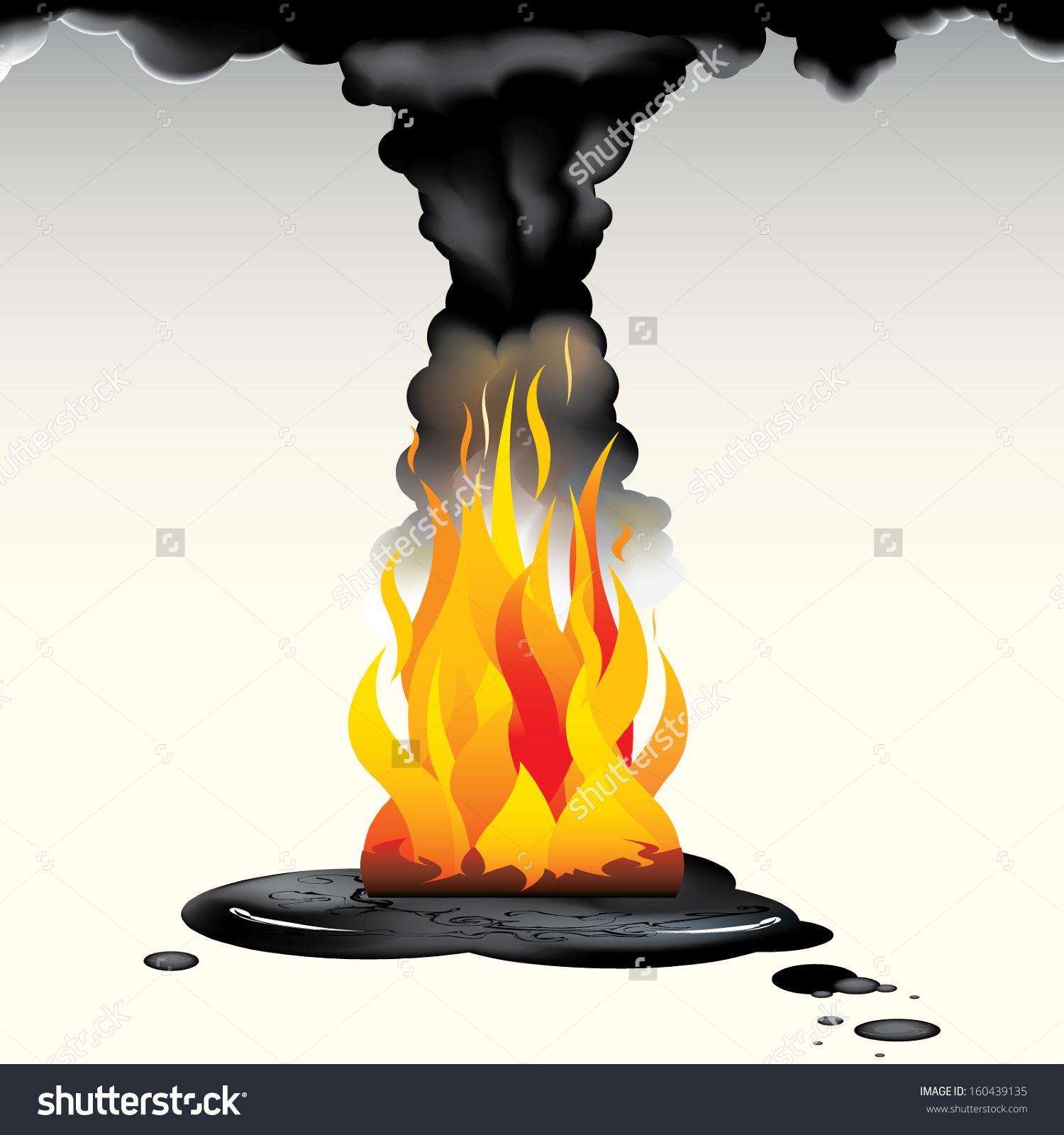 Vector Drawing Flames Burning Oilburning Oil Stock Vector.