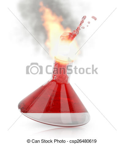 Clipart of Chemistry flask with burning red liquid on white.