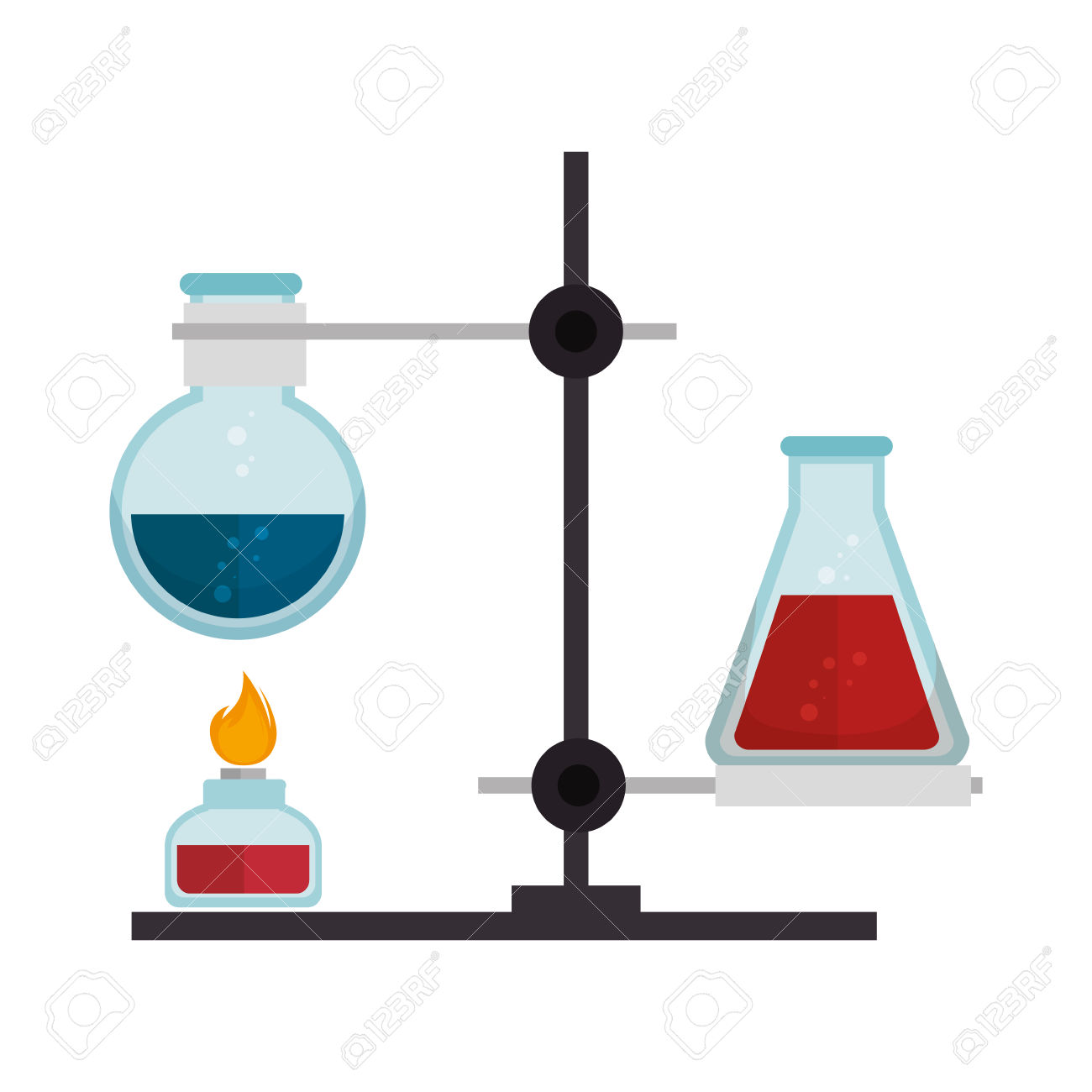 Chemical Glass Flask Bottles Burning With Spirit Lamp. Chemistry.