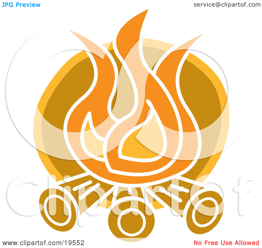 Clipart Illustration of Flames Burning Logs on a Campfire by Andy.