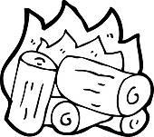 Clipart of cartoon burning wood logs k14833565.