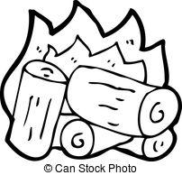 Clip Art Vector of cartoon burning wood logs csp14833565.