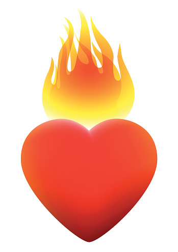 Burning heart clipart.