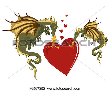 Clipart of Mystical Dragons in burning love k6567352.