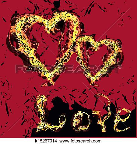 Clipart of Two of grunge vector hearts burning Love. Design.