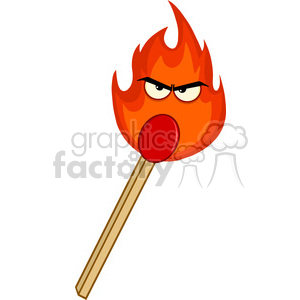 Royalty Free RF Clipart Illustration Burning Match Stick With Evil Flame  Cartoon Character clipart. Royalty.