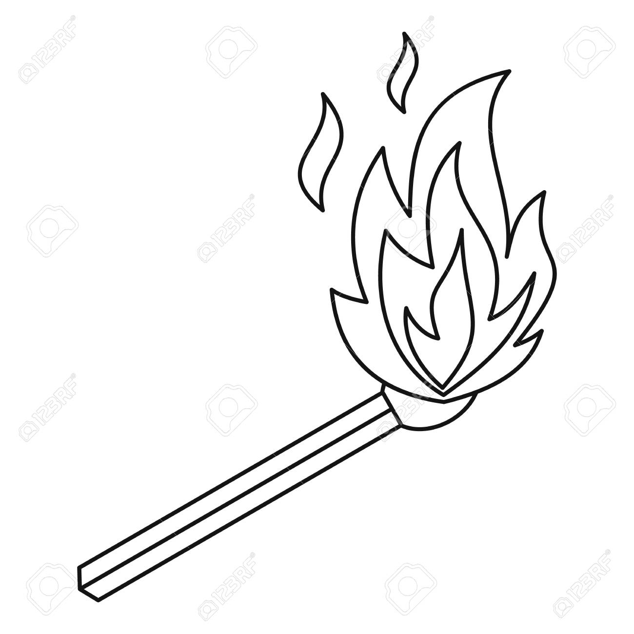 Burning match icon, outline style » Clipart Station.
