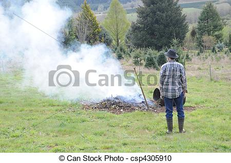 Stock Photography of Burn Pile.