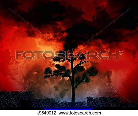 Clip Art of Burning sky k9549012.
