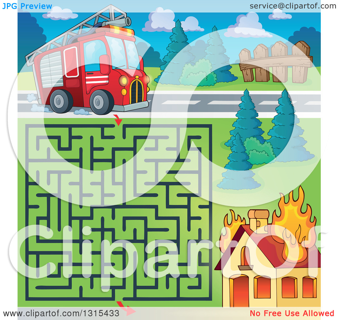 Clipart of a Cartoon Fire Engine Truck Maze and Burning House.
