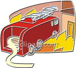 Firetruck_At_Burning_House_Royalty_Free_Clipart_Picture_081017.