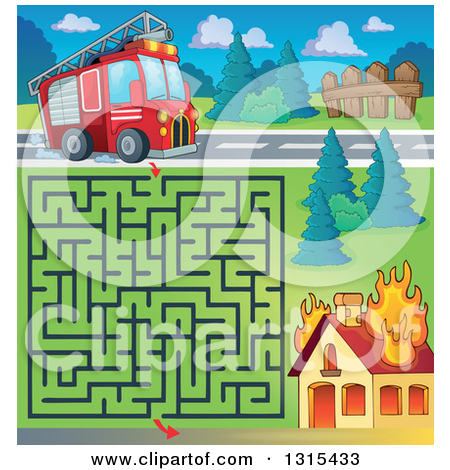 Clipart of a Cartoon Fire Engine Truck by a Burning House During.