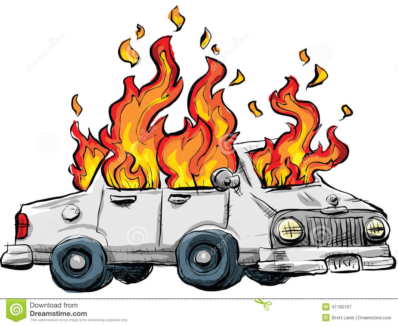Car fire clipart.