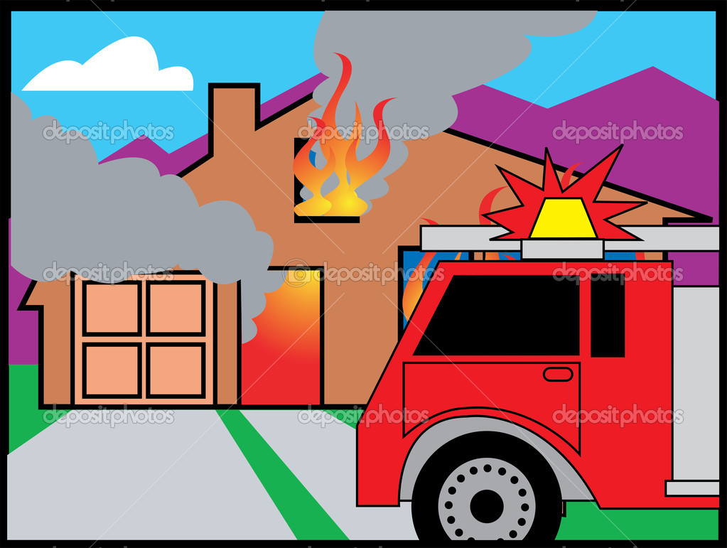 Fire Truck In Front Of A Burning House — Stock Vector © ClipArtGuy.
