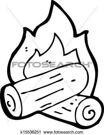 Clipart of cartoon burning wood logs k15536251.
