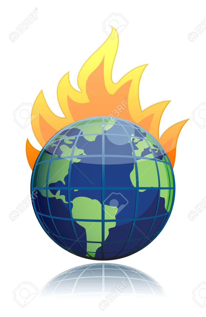 Burning Globe Illustration Design Icon Royalty Free Cliparts.