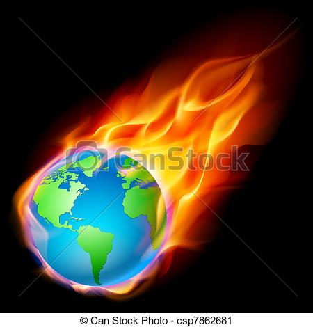Vector Clip Art of Abstract burning earth. Illustration on black.