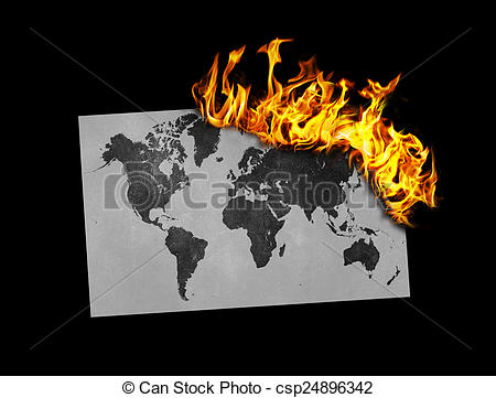 Stock Photo of Flag burning.
