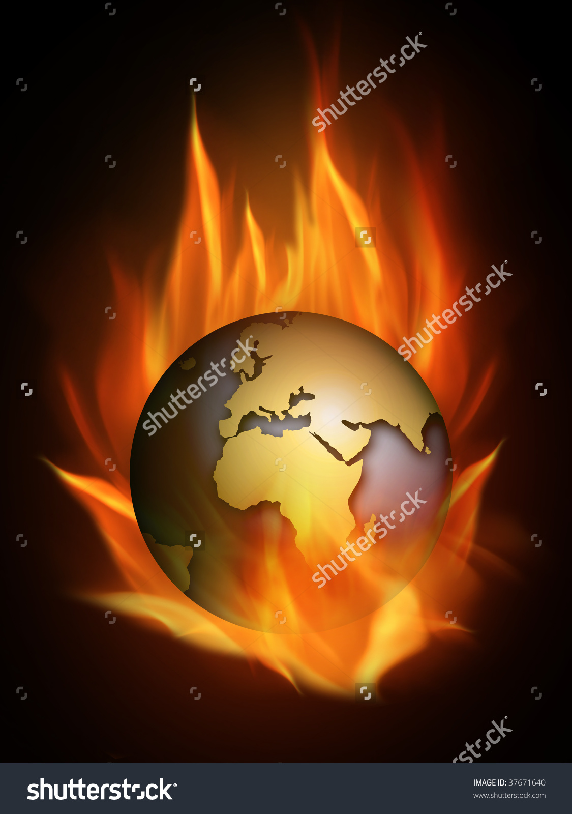 Hot Burning World Many Flames Stock Illustration 37671640.