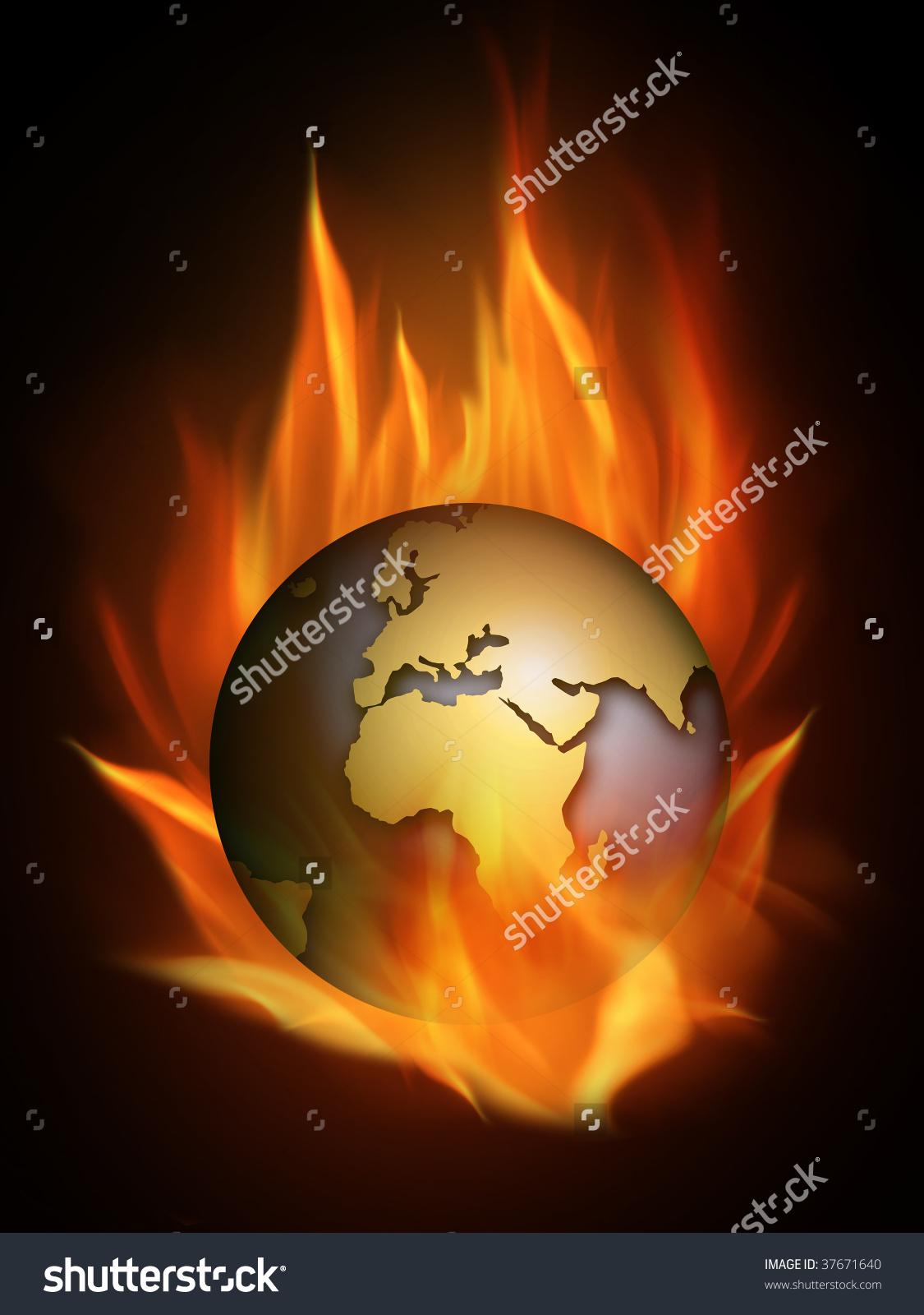 Hot Burning World Many Flames Stock Illustration 37671640.