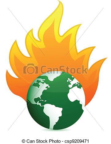 Vector Clip Art of burning eco earth globe illustration design.