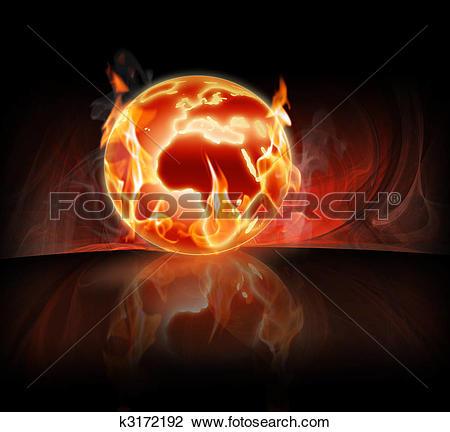 Clip Art of burning world k3172192.