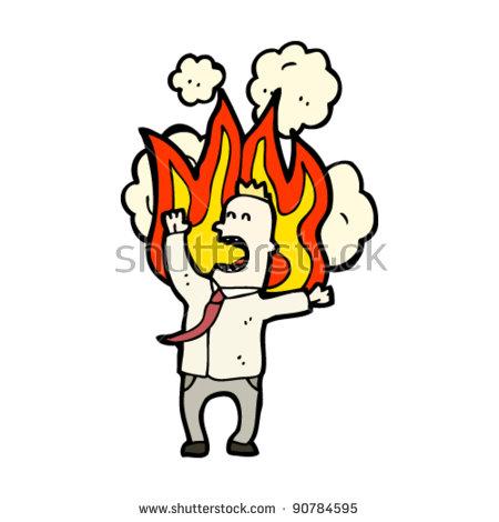 Burning Man Shirt Tie Cartoon Stock Vector 90784595.