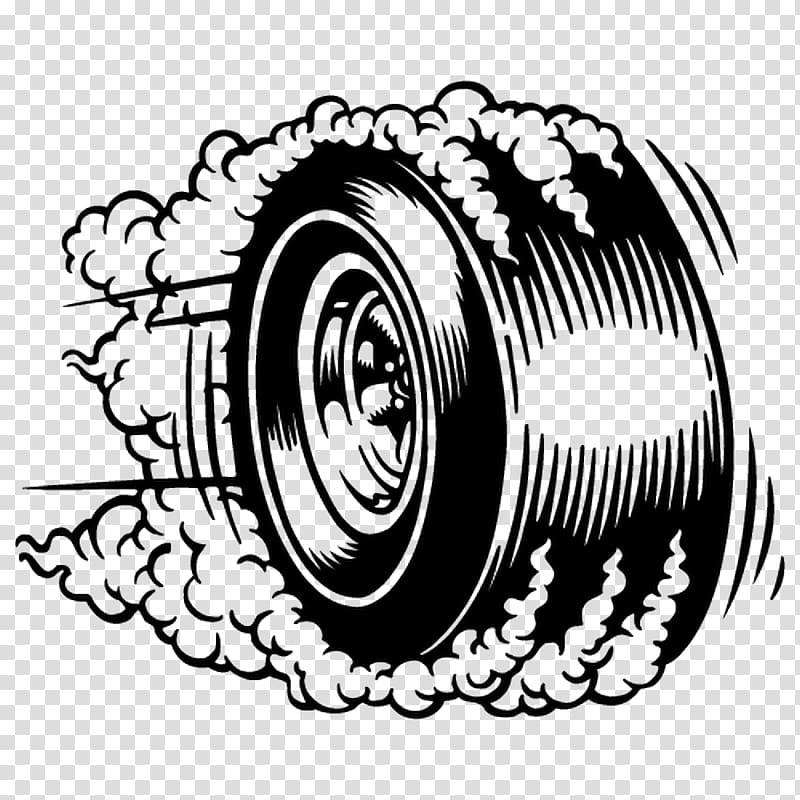 Vehicle tire emitting smoke illustration, Burnout Tire Car.