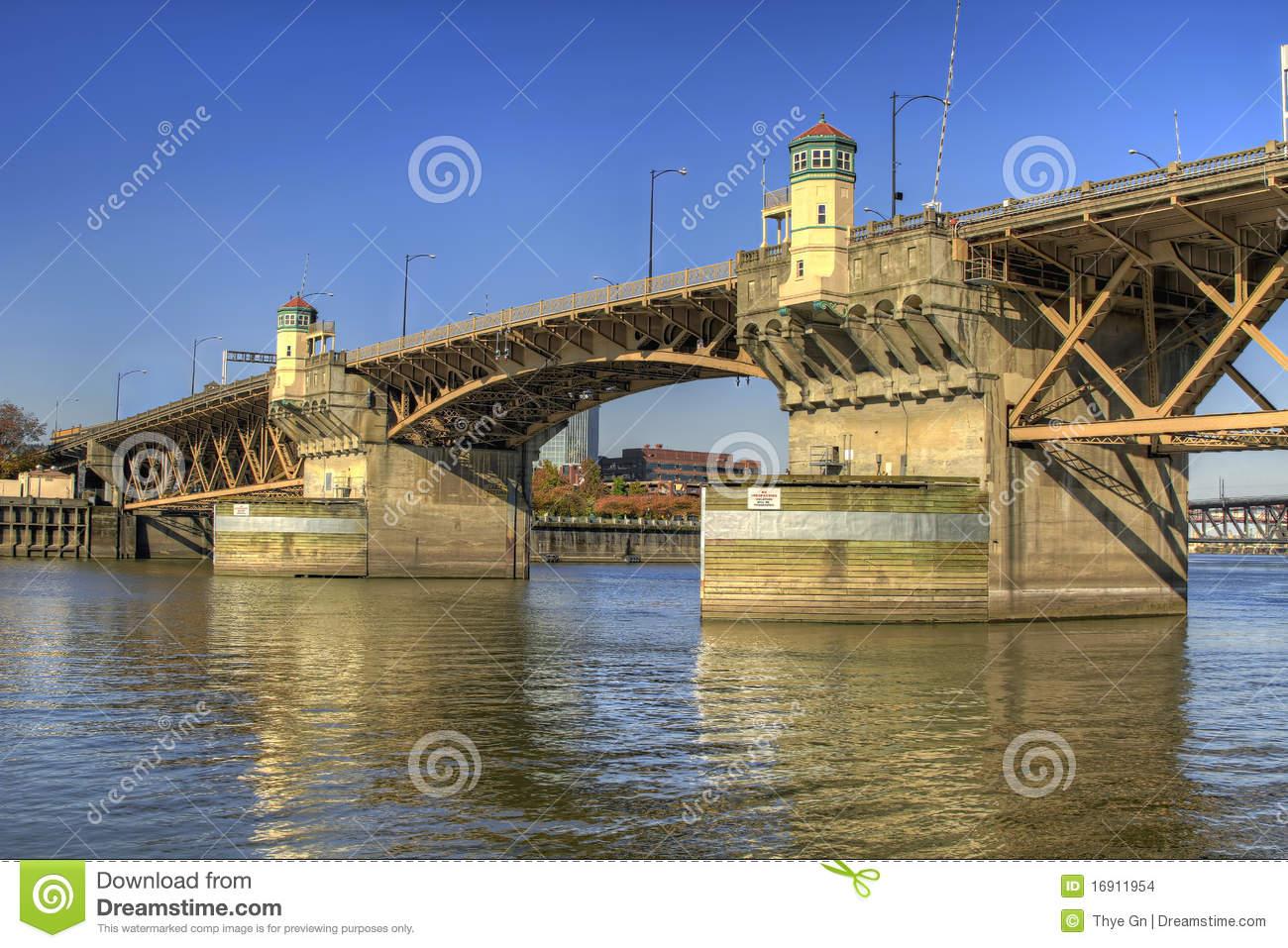 Burnside Bridge Willamette River Portland Oregon 2 Stock Images.