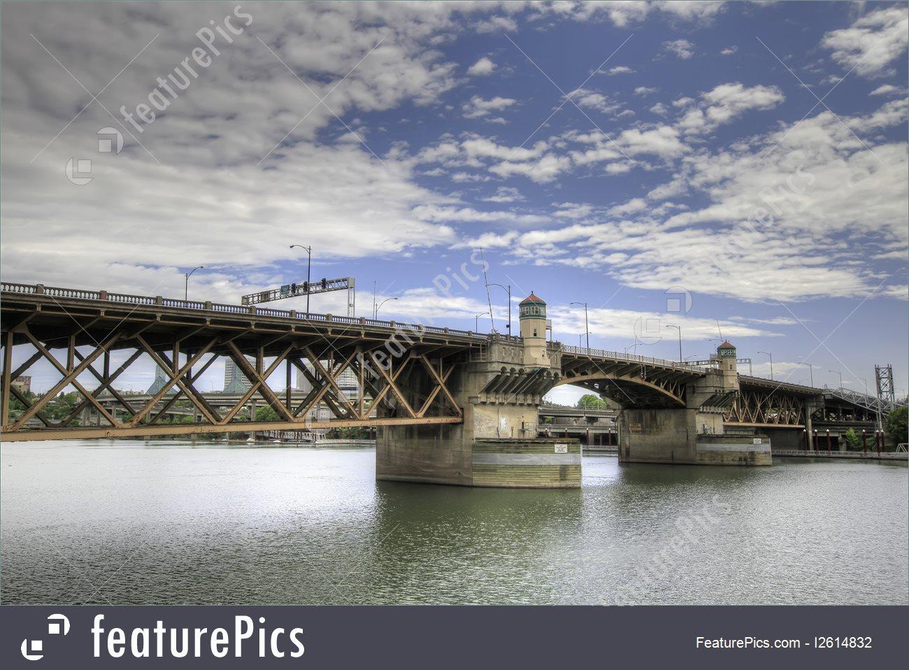 Bridge Architecture: Burnside Bridge Portland Oregon.