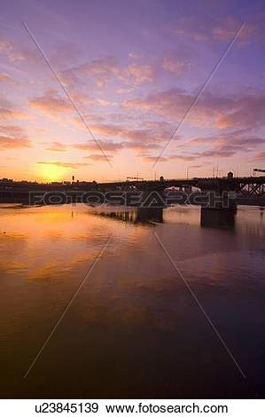 Stock Photograph of Sunrise over Burnside Bridge, Portland, Oregon.