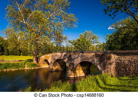 Stock Image of Burnside Bridge, on a beautiful spring day at.