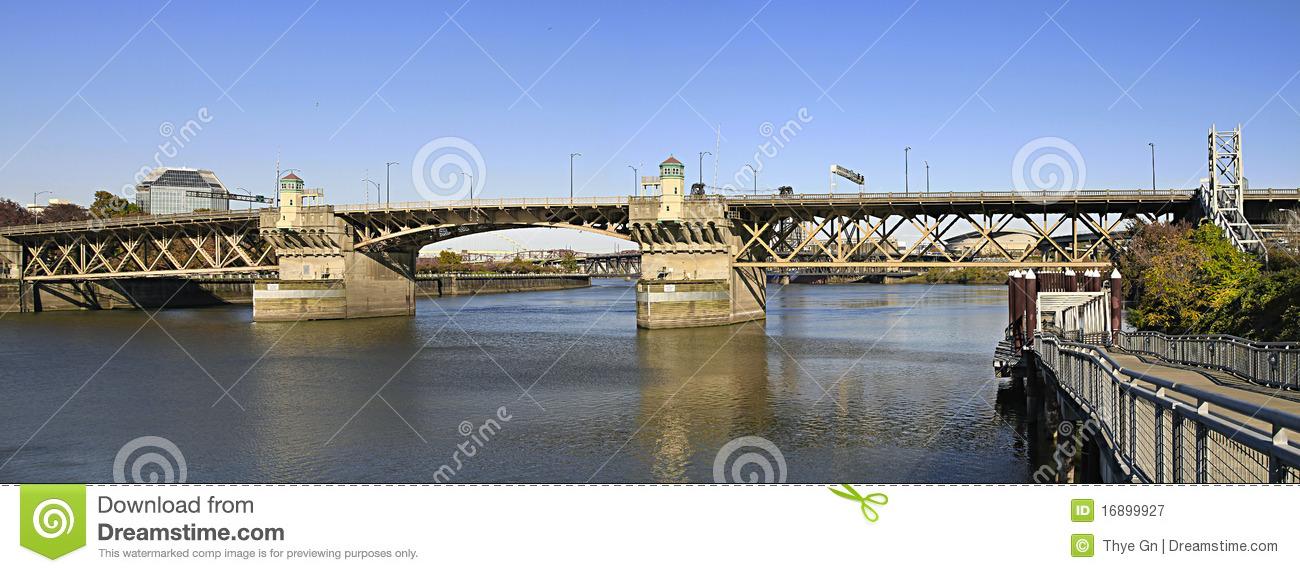 Burnside Bridge Willamette River Portland Oregon Royalty Free.