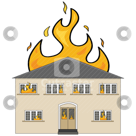 Cartoon burning house.