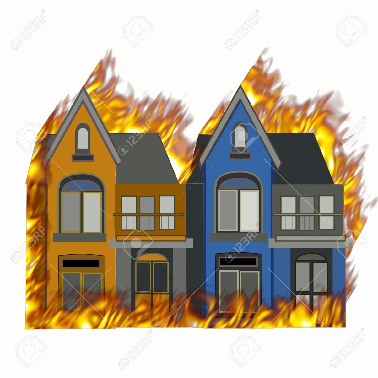 Burning House On Fire With Flames On All Sides Stock Photo.