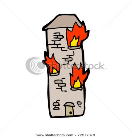 Cartoon House Burning.