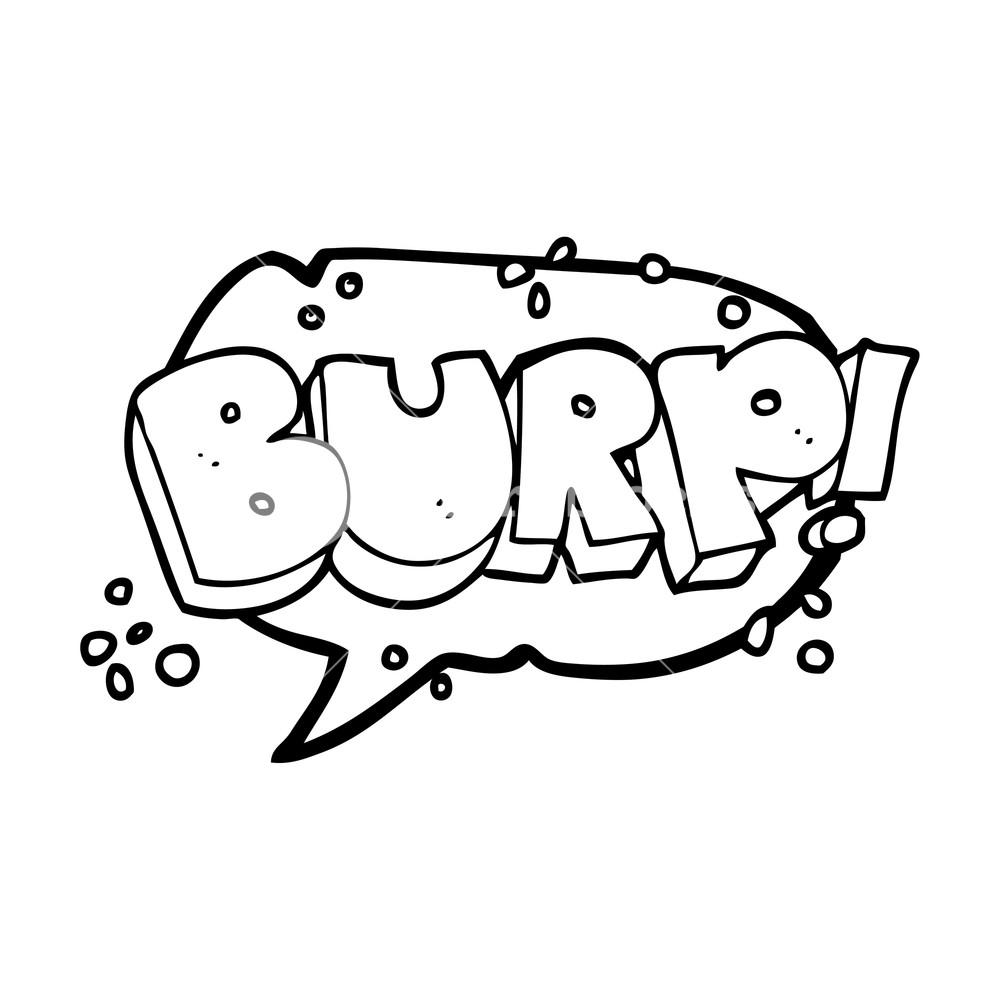 freehand drawn speech bubble cartoon burp text Royalty.
