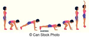 Burpee. burpees. sport exersice. silhouettes of woman doing.