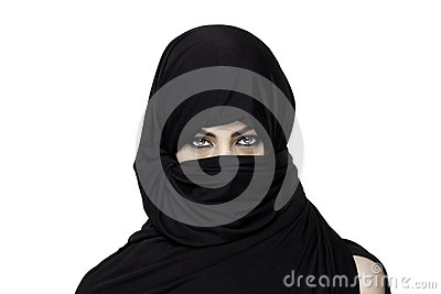 Girl Wearing A Burqa With Uncovered Shoulder Stock Photo.