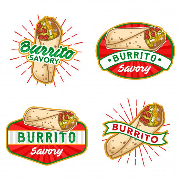 Burrito logo stock vector set Vector.