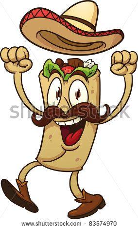 Mexican Burrito Cartoons Clipart.