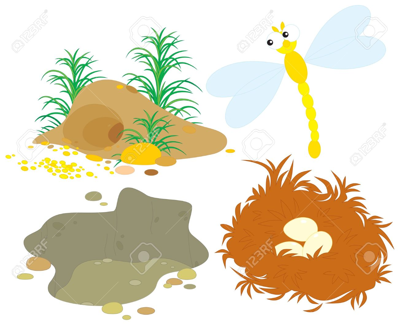 Hole, Pit, Nest And Dragonfly Royalty Free Cliparts, Vectors, And.