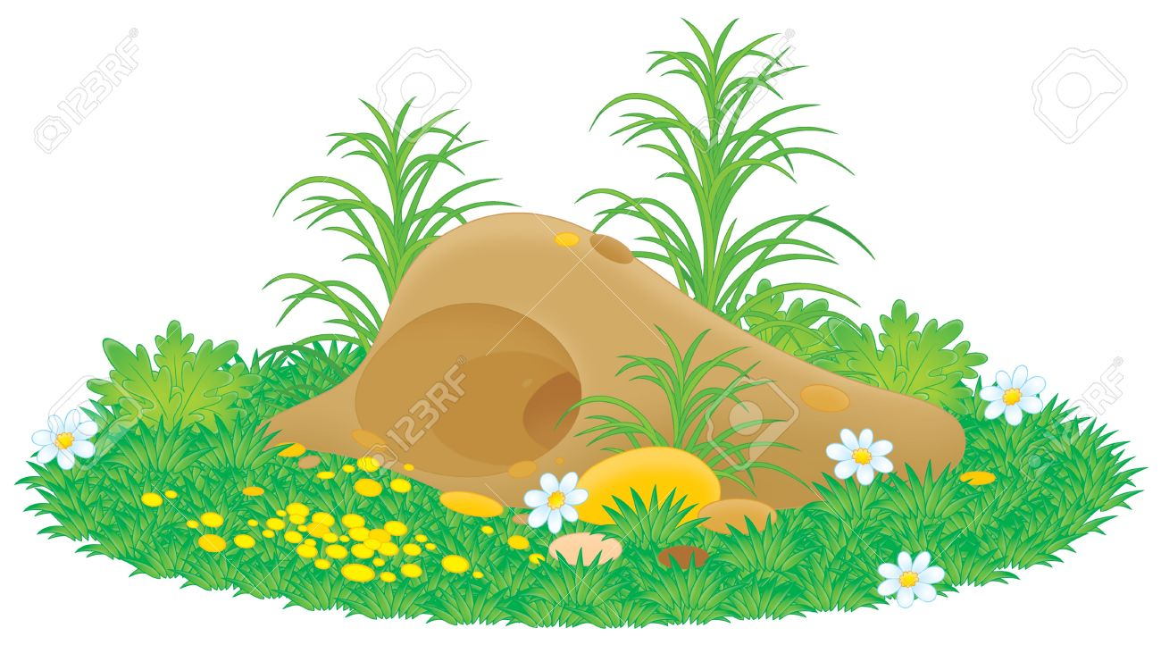 Rabbit burrow clipart black and white.