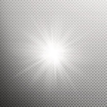 White glowing light burst effect. EPS 10 Clipart Image.