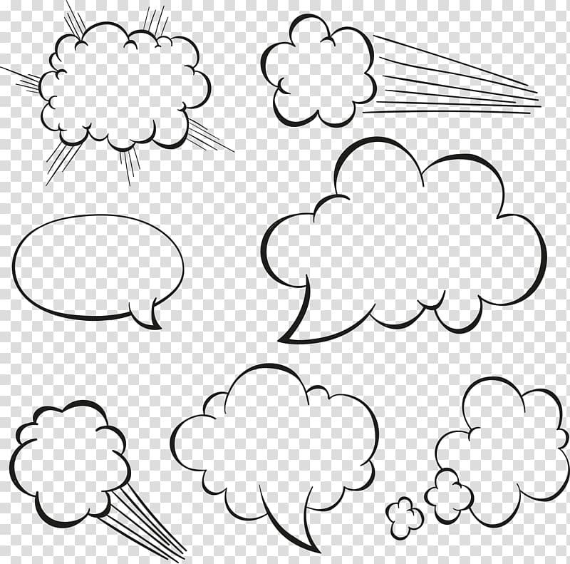 Black cloud text , Cloud Drawing Speech balloon, white.